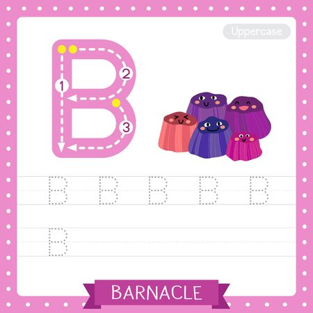 Letter B uppercase cute children colorful zoo and animals ABC alphabet tracing practice worksheet of Barnacle for kids learning English vocabulary and handwriting vector illustration.