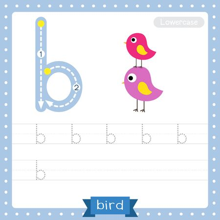 Letter B lowercase cute children colorful zoo and animals ABC alphabet tracing practice worksheet of colorful Bird for kids learning English vocabulary and handwriting vector illustration. Векторная Иллюстрация