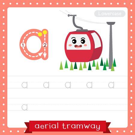 Letra A minúscula niños lindos coloridos transportes ABC alfabeto rastreo práctica hoja de trabajo de Aerial Tramway para niños que aprenden vocabulario en inglés y escritura a mano ilustración vectorial.