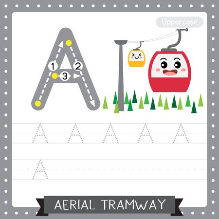 Letter A uppercase cute children colorful transportations ABC alphabet tracing practice worksheet of Aerial Tramway for kids learning English vocabulary and handwriting Vector Illustration.