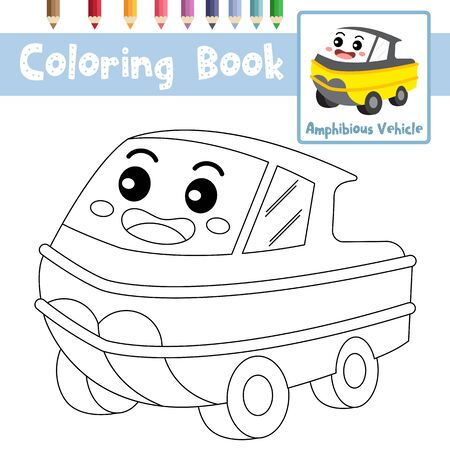 Coloring page of cute Amphibious Vehicle cartoon character perspective view transportations for preschool kids activity educational worksheet. Vector Illustration. Ilustrace