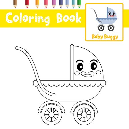 Coloring page of cute Baby Buggy cartoon character side view transportations for preschool kids activity educational worksheet. Vector Illustration.