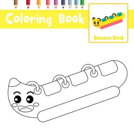 Coloring page of cute Banana Boat cartoon character perspective view transportations for preschool kids activity educational worksheet. Vector Illustration.