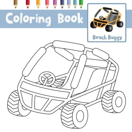 Coloring page of cute Beach buggy cartoon character perspective view transportations for preschool kids activity educational worksheet. Vector Illustration.