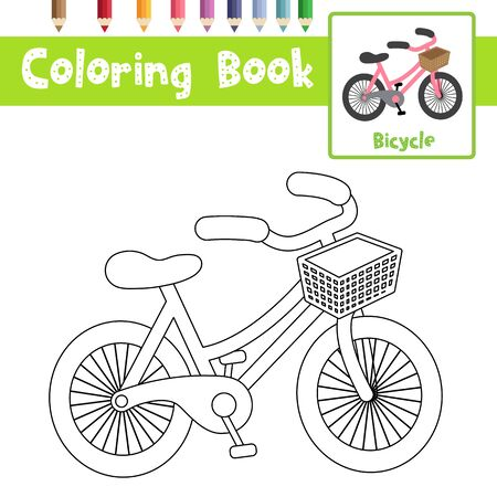 Coloring page of cute Bicycle cartoon character perspective view transportations for preschool kids activity educational worksheet. Vector Illustration.
