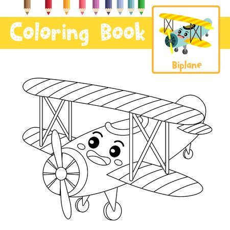 Coloring page of cute Biplane cartoon character perspective view transportations for preschool kids activity educational worksheet. Vector Illustration.
