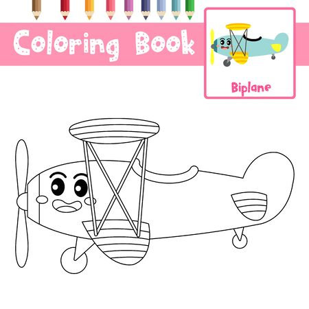 Coloring page of cute Biplane cartoon character side view transportations for preschool kids activity educational worksheet. Vector Illustration. Ilustrace