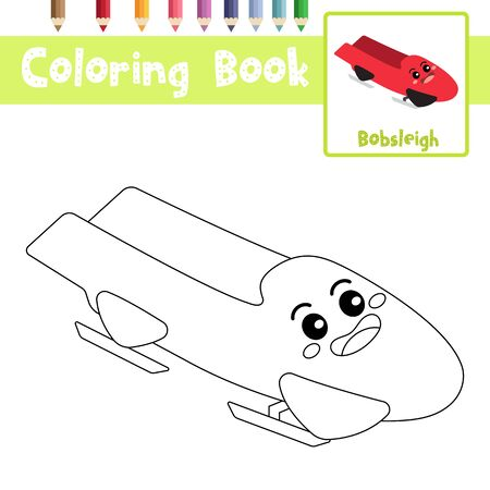 Coloring page of cute Bobsleigh cartoon character perspective view transportations for preschool kids activity educational worksheet. Vector Illustration.