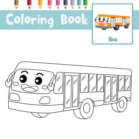 Coloring page of cute Bus cartoon character perspective view transportations for preschool kids activity educational worksheet. Vector Illustration.