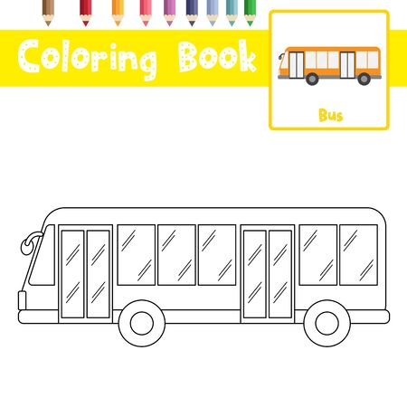 Coloring page of cute Bus cartoon character side view transportations for preschool kids activity educational worksheet. Vector Illustration. Ilustrace