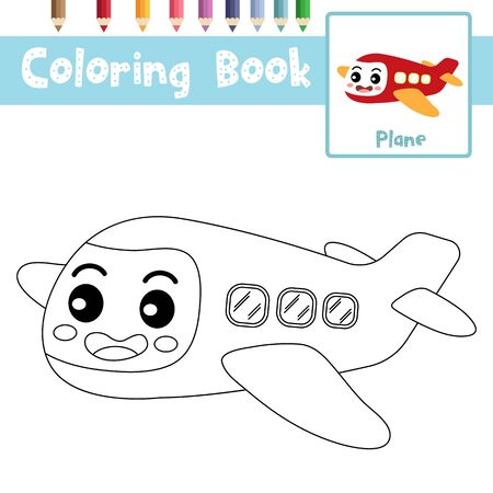 Coloring page of cute Plane cartoon character perspective view transportations for preschool kids activity educational worksheet. Vector Illustration. Ilustrace