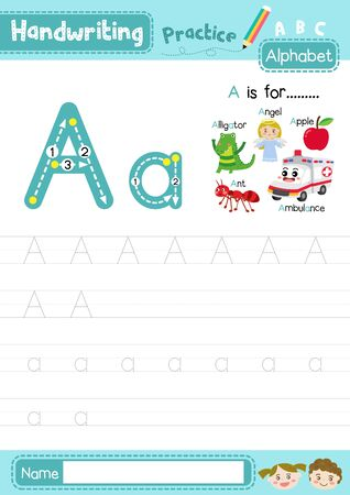 Letter A uppercase and lowercase cute children colorful ABC alphabet trace practice worksheet for kids learning English vocabulary and handwriting layout in A4 vector illustration.