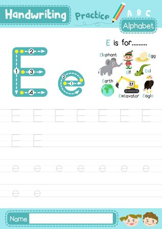 Letter E uppercase and lowercase cute children colorful ABC alphabet trace practice worksheet for kids learning English vocabulary and handwriting layout in A4 vector illustration.