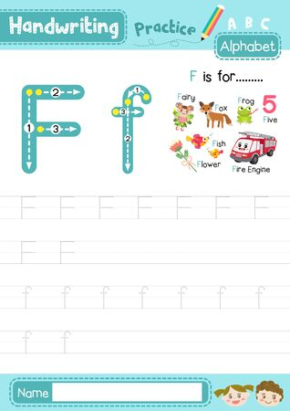 Letter F uppercase and lowercase cute children colorful ABC alphabet trace practice worksheet for kids learning English vocabulary and handwriting layout in A4 vector illustration. Illusztráció