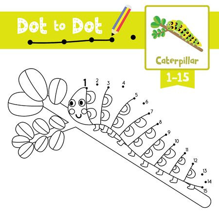 Dot to dot educational game and Coloring book of Caterpillar crawling on the branch animals cartoon character for preschool kids activity about learning counting number 1-15 and handwriting practice worksheet. Vector Illustration. Illusztráció
