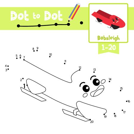 Dot to dot educational game and Coloring book of Bobsleigh cartoon transportations for kids activity about counting number 1-20 and handwriting practice worksheet. Vector Illustration. Illustration