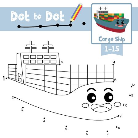 Dot to dot educational game and Coloring book of Cargo Ship cartoon transportations for kids activity about counting number 1-15 and handwriting practice worksheet. Vector Illustration.