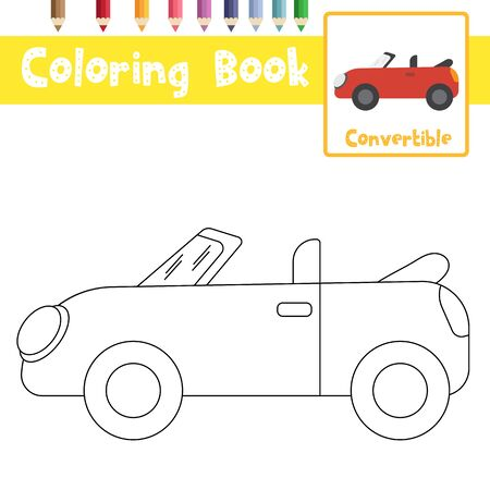 Coloring page of cute Convertible cartoon character side view transportations for preschool kids activity educational worksheet. Vector Illustration. Vecteurs