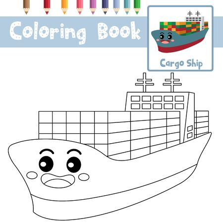 Coloring page of cute Cargo Ship cartoon character perspective view transportations for preschool kids activity educational worksheet. Vector Illustration.