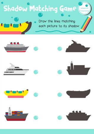 Shadow matching game for preschool kids activity worksheet in Transportation theme colorful printable version layout in A4. Standard-Bild - 140539854