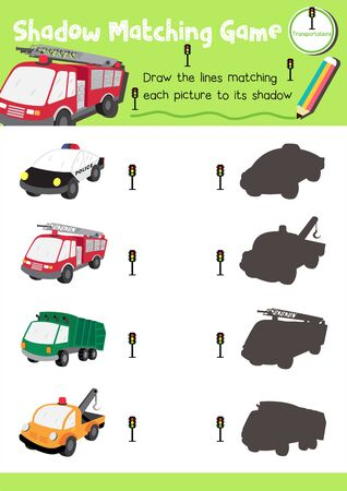 Shadow matching game for preschool kids activity worksheet in Transportation theme colorful printable version layout in A4. Vector Illustration