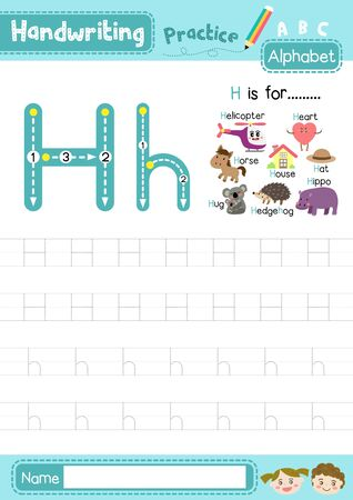 Letter H uppercase and lowercase cute children colorful ABC alphabet trace practice worksheet for kids learning English vocabulary and handwriting layout in A4 vector illustration.