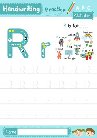 Letter R uppercase and lowercase cute children colorful ABC alphabet trace practice worksheet for kids learning English vocabulary and handwriting layout in A4 vector illustration.