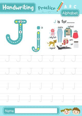 Letter J uppercase and lowercase cute children colorful ABC alphabet trace practice worksheet for kids learning English vocabulary and handwriting layout in A4 vector illustration.