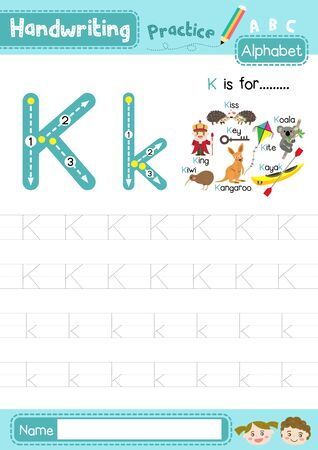 Letter K uppercase and lowercase cute children colorful ABC alphabet trace practice worksheet for kids learning English vocabulary and handwriting layout in A4 vector illustration.
