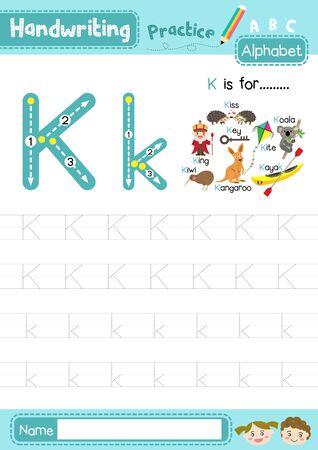 Lettre K majuscule et minuscule enfants mignons colorés ABC alphabet trace pratique feuille de travail pour les enfants qui apprennent le vocabulaire anglais et la disposition de l'écriture manuscrite en illustration vectorielle A4.