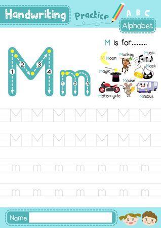 Letter M uppercase and lowercase cute children colorful ABC alphabet trace practice worksheet for kids learning English vocabulary and handwriting layout in A4 vector illustration. Ilustración de vector