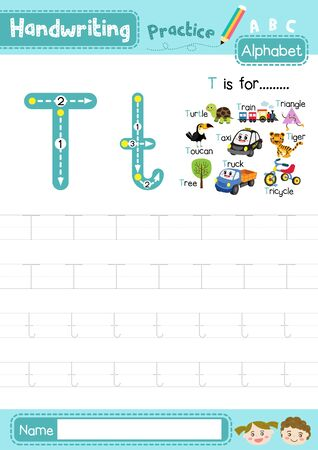 Letter T uppercase and lowercase cute children colorful ABC alphabet trace practice worksheet for kids learning English vocabulary and handwriting layout in A4 vector illustration.