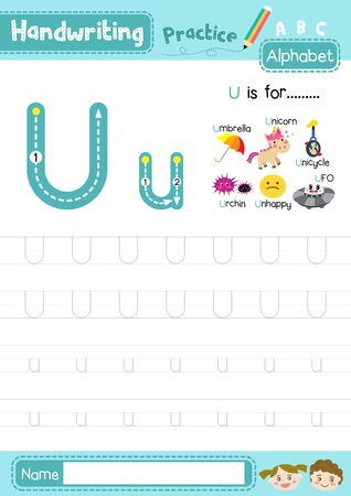 Letter U uppercase and lowercase cute children colorful ABC alphabet trace practice worksheet for kids learning English vocabulary and handwriting layout in A4 vector illustration.
