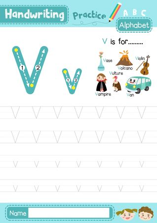 Letter V uppercase and lowercase cute children colorful ABC alphabet trace practice worksheet for kids learning English vocabulary and handwriting layout in A4 vector illustration.