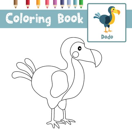 Coloring page of Dodo bird animals cartoon character for preschool kids activity educational worksheet. Vector Illustration. Illustration