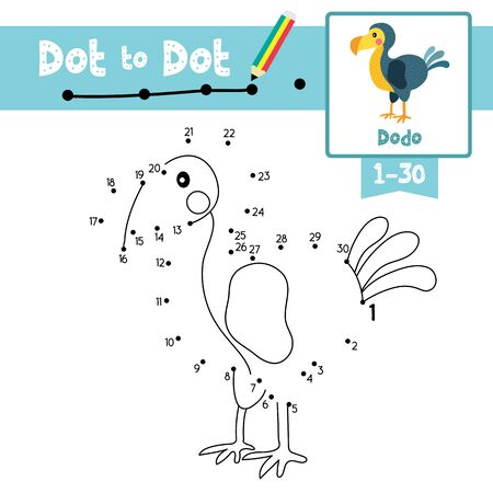 Dot to dot educational game and Coloring book of Dodo bird animals cartoon character for preschool kids activity about learning counting number 1-30 and handwriting practice worksheet. Vector Illustration. Illustration
