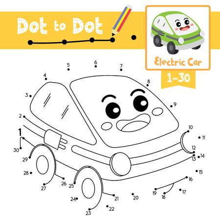 Dot to dot educational game and Coloring book of Electric Car cartoon transportations for kids activity about counting number 1-30 and handwriting practice worksheet. Vector Illustration. Vektorgrafik