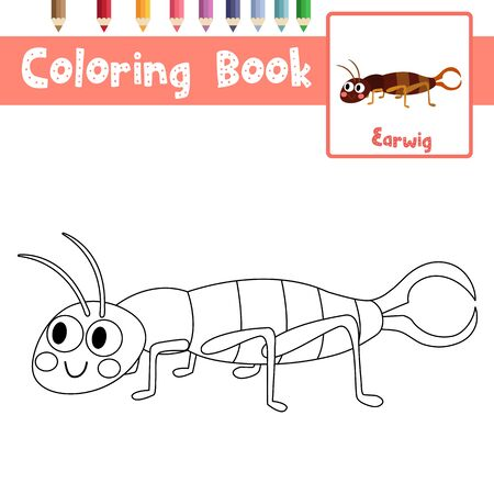 Coloring page of Earwig animals cartoon character for preschool kids activity educational worksheet. Vector Illustration.