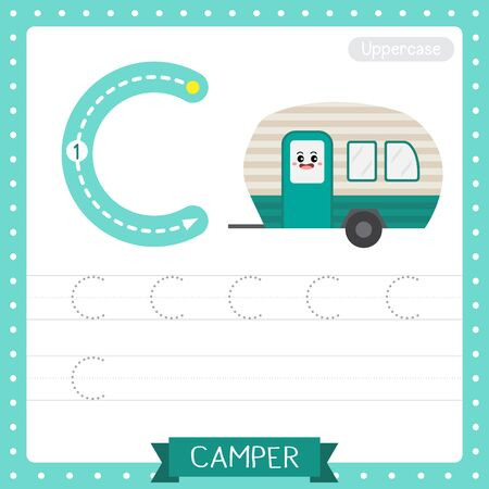 Letter C uppercase cute children colorful transportations ABC alphabet tracing practice worksheet of Camper for kids learning English vocabulary and handwriting Vector Illustration.