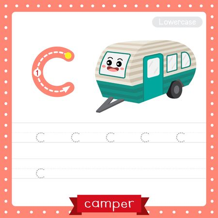 Letter C lowercase cute children colorful transportations ABC alphabet tracing practice worksheet of Camper for kids learning English vocabulary and handwriting Vector Illustration.