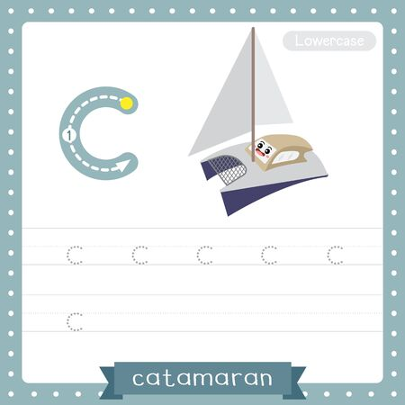 Letter C lowercase cute children colorful transportations ABC alphabet tracing practice worksheet of Catamaran for kids learning English vocabulary and handwriting Vector Illustration.