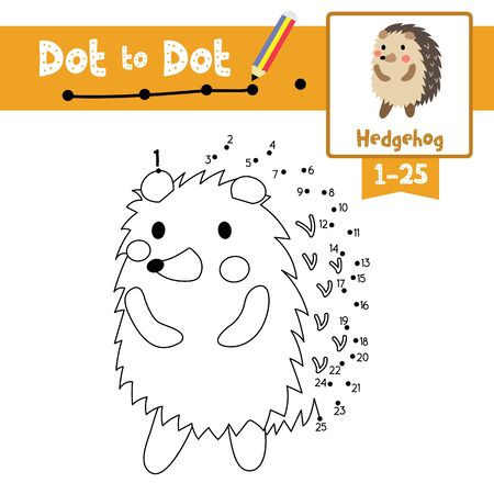 Dot to dot educational game and Coloring book of Hedgehog standing on two legs animals cartoon character for preschool kids activity about learning counting number 1-25 and handwriting practice worksheet. Vector Illustration. Çizim
