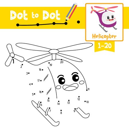 Dot to dot educational game and Coloring book of Helicopter cartoon transportations for kids activity about counting number 1-20 and handwriting practice worksheet. Vector Illustration. Çizim