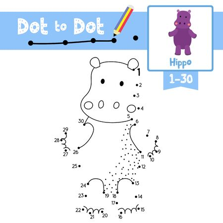 Dot to dot educational game and Coloring book of Hippopotamus standing on two legs and animals cartoon character for preschool kids activity about learning counting number 1-30 and handwriting practice worksheet. Vector Illustration. Çizim