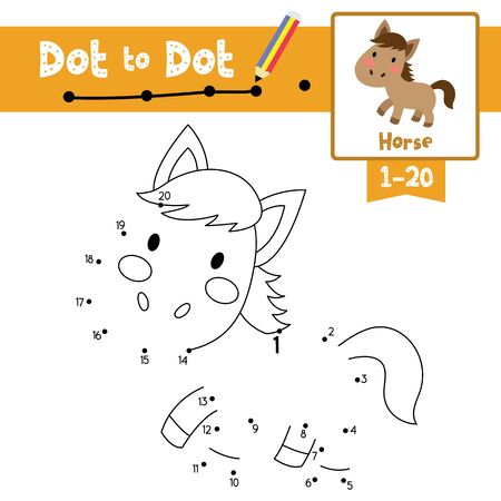 Dot to dot educational game and Coloring book of Horse animals cartoon character for preschool kids activity about learning counting number 1-20 and handwriting practice worksheet. Vector Illustration.