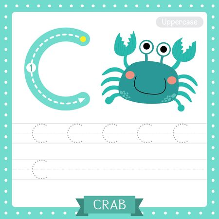 Letter C uppercase cute children colorful zoo and animals ABC alphabet tracing practice worksheet of blue Crab for kids learning English vocabulary and handwriting vector illustration. Çizim