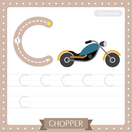Letter C uppercase cute children colorful transportations ABC alphabet tracing practice worksheet of Chopper for kids learning English vocabulary and handwriting Vector Illustration.