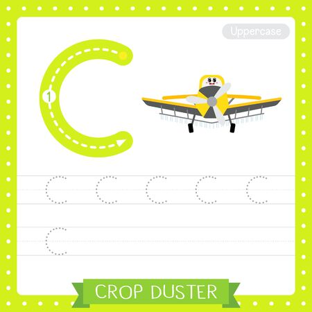 Letter C uppercase cute children colorful transportations ABC alphabet tracing practice worksheet of Crop Duster for kids learning English vocabulary and handwriting Vector Illustration.