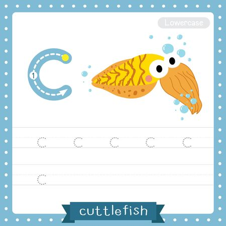 Letter C lowercase cute children colorful zoo and animals ABC alphabet tracing practice worksheet of Yellow Cuttlefish for kids learning English vocabulary and handwriting vector illustration. Çizim