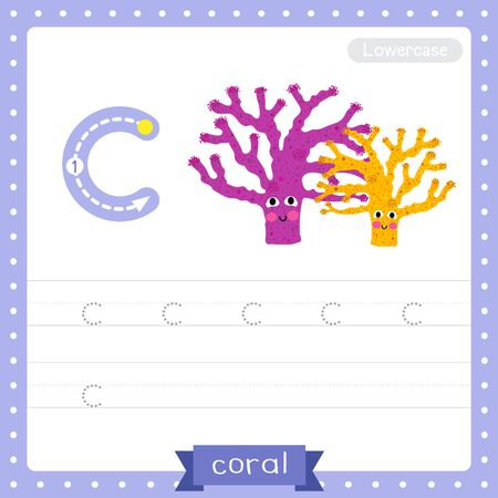 Letter C lowercase cute children colorful zoo and animals ABC alphabet tracing practice worksheet of Coral for kids learning English vocabulary and handwriting vector illustration.